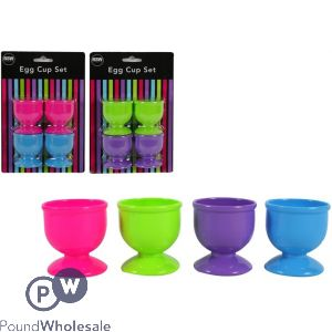 EGG CUP SET ASSORTED COLOURS 4 PACK