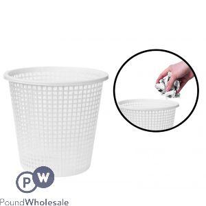 MESH PLASTIC WASTE BIN WHITE