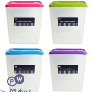 TALL FOOD STORAGE BOX 4 ASSORTED COLOURS