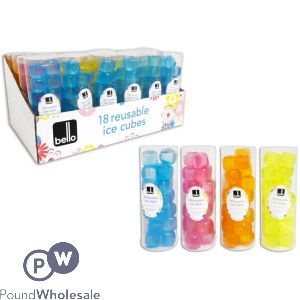 BELLO REUSABLE ICE CUBES 18 PACK ASSORTED COLOURS CDU