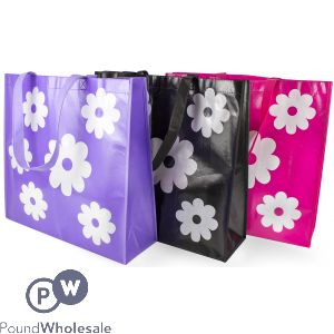 SHOPPING BAG FLOWER DESIGN THREE ASSORTED COLOURS 43 X 40 X 14CM