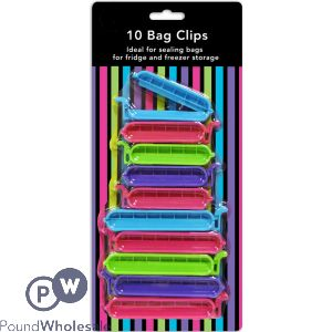 BRIGHTLY COLOURED BAG CLIPS ASSORTED 10 PACK