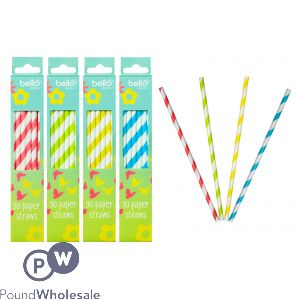 BELLO PAPER DRINKING STRAWS 30 PACK ASSORTED COLOURS