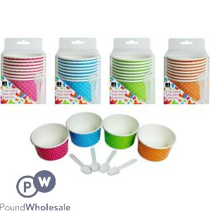 BELLO ICE CREAM TUBS 8PC 4 ASSORTED COLOURS