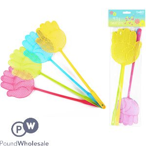 BELLO FLY SWATTERS 4 PACK ASSORTED COLOURS
