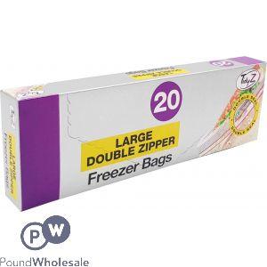 TIDYZ LARGE DOUBLE ZIPPER RESEALABLE FREEZER BAGS 20 PACK