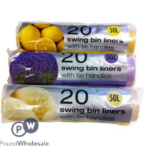 TIDYZ 20 ASSORTED FRAGRANCE SWING BIN LINERS 50L