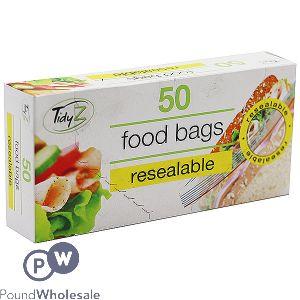 TIDYZ RESEALABLE FOOD BAGS 50 PACK