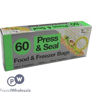 TIDYZ PRESS & SEAL FOOD BAGS 60 PACK