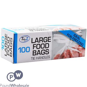 TIDYZ LARGE FREEZER BAGS WITH TIE HANDLES 100 PACK