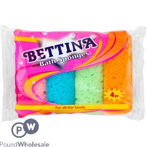 BETTINA BATH SPONGES ASSORTED COLOURS 4PC