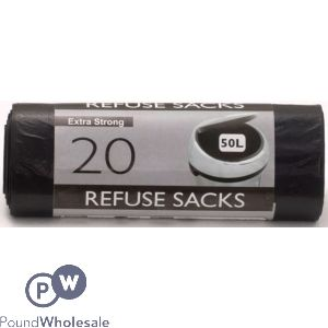 TIDYZ 20 EXTRA STRONG REFUSE SACKS 50L