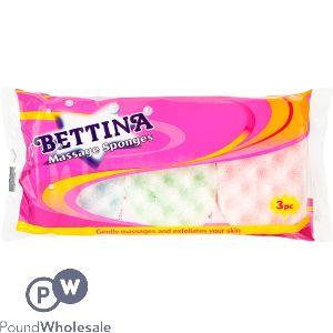 BETTINA ASSORTED COLOUR MASSAGE SPONGES 3 PACK