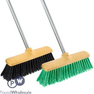 HEAVY DUTY OUTDOOR BROOM WITH HANDLE ASSORTED
