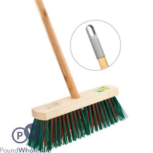 """WOODEN OUTDOOR 11"""" BROOM WITH STICK"""