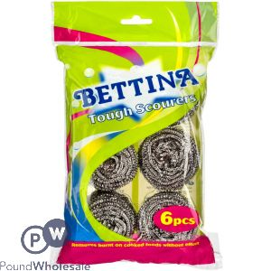BETTINA TOUGH STAINLESS STEEL SCOURERS 6 PACK
