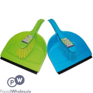 BETTINA DUSTPAN AND BRUSH ASSORTED GREEN & BLUE