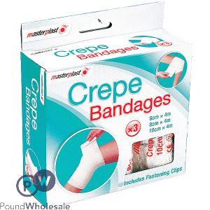 MASTERPLAST CREPE BANDAGES ASSORTED SIZES 3 PACK