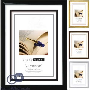PHOTO FRAME IN 4 ASSORTED COLOURS BRONZE,SILVER, BLACK & GOLD A4 CERTIFICATE (21X29.7CM)