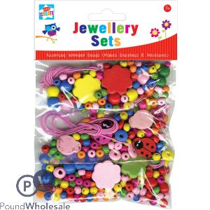 KIDS CREATE MAKE YOUR OWN WOODEN BEAD JEWELLERY SET
