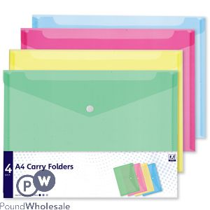 A4 CARRY FOLDERS ASSORTED COLOURS 4 PACK