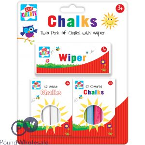 2 PACK ASSORTED COLOUR CHALKS & WIPER