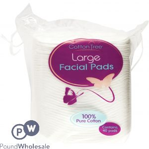100% COTTON LARGE FACIAL PADS 40 PADS