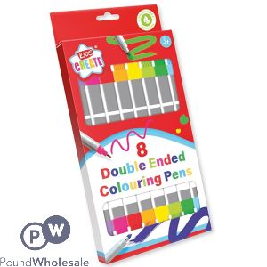 KIDS CREATE DOUBLE-ENDED COLOURING PENS 8 PACK