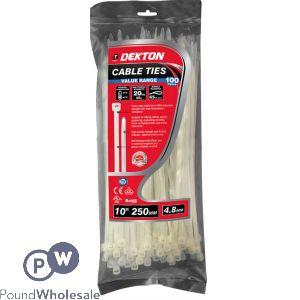 DEKTON 100 PIECE 4.8MM X 250MM WHITE CABLE TIES