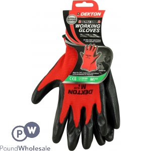 DEKTON ULTRA GRIP WORKING GLOVES BLACK/RED NITRILE 8/M
