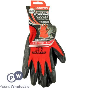 DEKTON ULTRA GRIP WORKING GLOVES BLACK/RED NITRILE 9/L