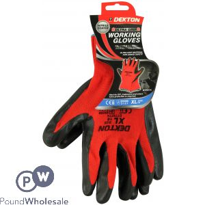 DEKTON ULTRA GRIP WORKING GLOVES BLACK/RED NITRILE 10/XL