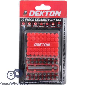 DEKTON 33 PIECE CRV SECURITY BIT SET AND EXTENSION BAR IN BIT HOUSING