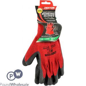 DEKTON HEAVY DUTY CE CAT 2. EN388 WORKING GLOVES BLACK/RED LATEX 8/M