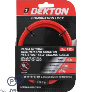 DEKTON COMBINATION BIKE LOCK 8MM X 650MM