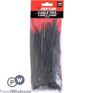 DEKTON CABLE TIES BLACK 2.55MM X 150MM