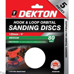 DEKTON 125MM HOOK & LOOP ORBITAL SANDING DISCS 5 PACK 80 GRIT