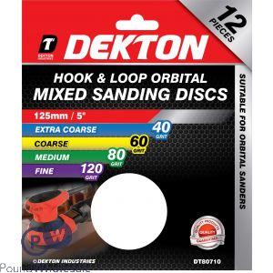 DEKTON 125MM HOOK & LOOP ORBITAL MIXED SANDING DISCS 12 PACK 40/60/80/120 GRIT