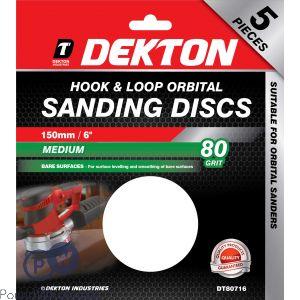 DEKTON 150MM HOOK & LOOP ORBITAL SANDING DISCS 5 PACK 80 GRIT