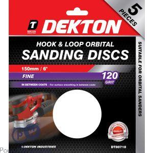 DEKTON 150MM HOOK & LOOP ORBITAL SANDING DISCS 5 PACK 120 GRIT