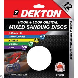DEKTON 150MM HOOK & LOOP ORBITAL MIXED SANDING DISCS 12 PACK 40/60/80/120 GRIT