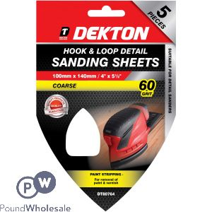 DEKTON 100MM X 140MM HOOK & LOOP DETAIL SANDING SHEETS 60 GRIT