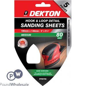 DEKTON 100MM X 140MM HOOK & LOOP DETAIL SANDING SHEETS 80 GRIT