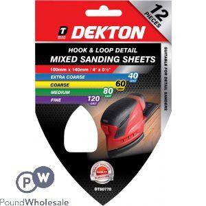 DEKTON 100MM X 140MM  HOOK & LOOP MIXED DETAIL SANDING SHEETS 40/60/80/120 GRIT