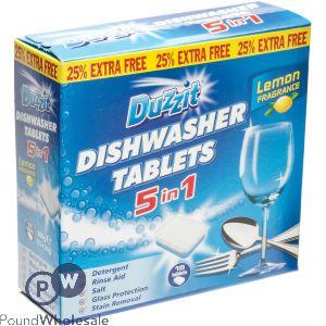 DUZZIT DISHWASHER TABLETS 5-IN-1 LEMON 12 PACK
