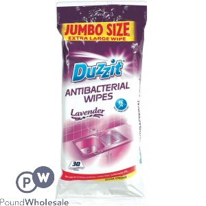 DUZZIT LAVENDER ANTIBACTERIAL WIPES XL 30 PACK