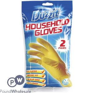 DUZZIT HOUSEHOLD GLOVES MEDIUM 2 PAIRS