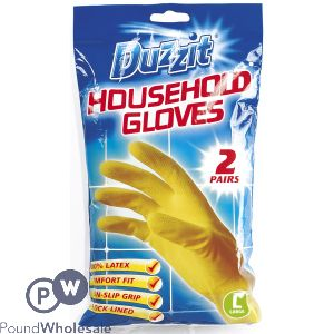 DUZZIT HOUSEHOLD GLOVES LARGE 2 PAIRS