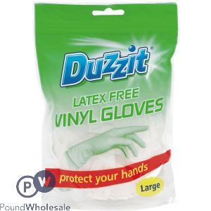 DUZZIT LATEX FREE VINYL GLOVES SIZE LARGE 18 PACK