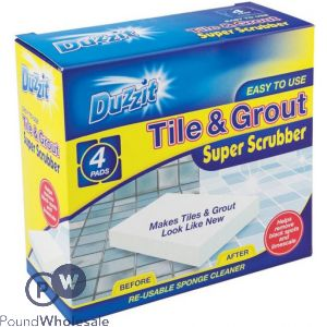 DUZZIT TILE & GROUT SCRUBBER 4 PACK